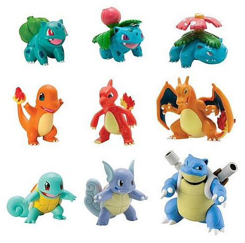 Fin Pokemon - 1st Generation Starters Evolutions - Figures 9-Pack PI-75